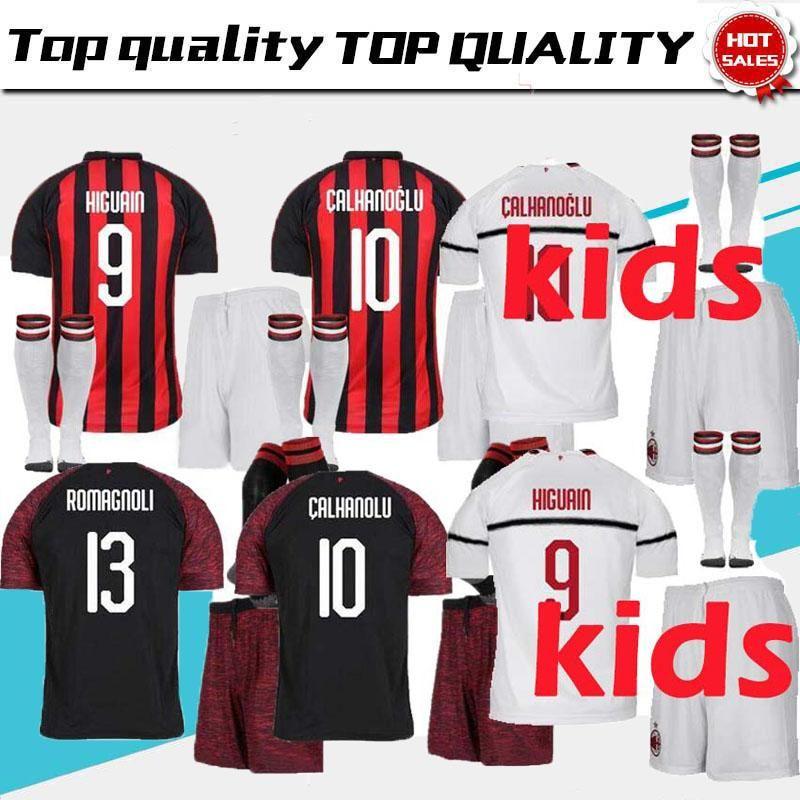 2019 AAA+ Kid 2018 2019 AC Milan HIGUAIN BAKAYOKO ANDRE SILVA CALHANOGLU  Soccer Jerseys Set 18 19 Kits Camisetas CONTI Kalinic SUSO KESSIE Shirts  From ... 9602738105d61