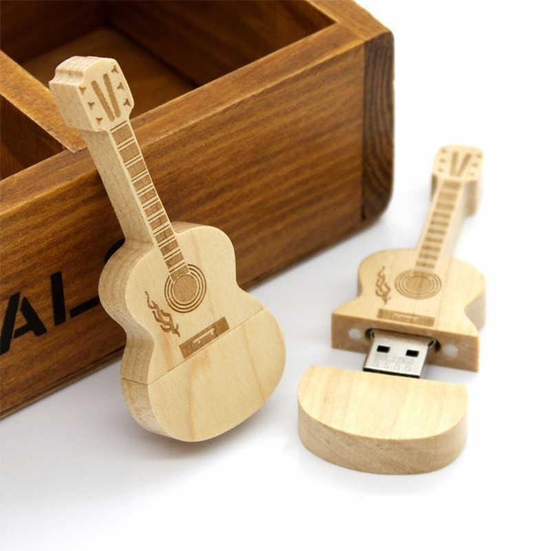Usb Flash Guitar Shaped Pen Drive 4gb 8g 16gb 32gb 64gb Wooden Guitars Model Memory Stick Natural Music Pendrive Gift