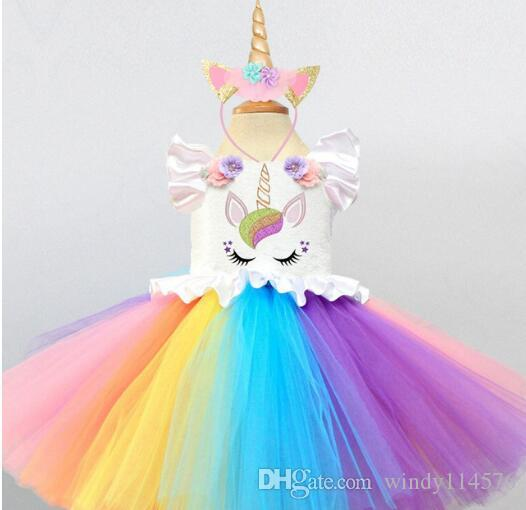 b7b802f13 Baby Girls Tutu Dresses Fancy Rainbow Princess Colorful Unicorn Dress +  Headband Christmas Halloween Costume Kids Girl Party Dress XF80
