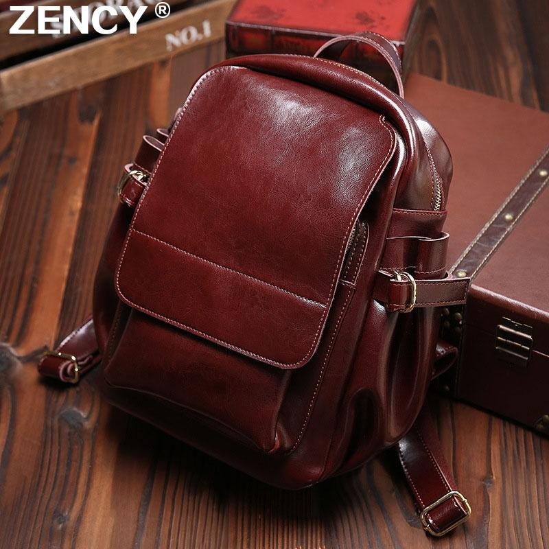 Fast Shipping Vintage Classic Fashion Oil Wax Cowhide Real leather Women's BackpacFemale Genuine Leather Ladies Backpack Bags