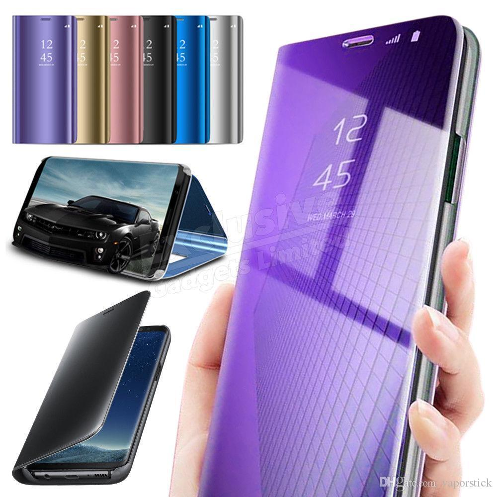 New design phone case for iPhone XS MAX XR Case sumsung Smart View Mirror Wallet Leather Flip Stand Case Cover Cell Phone Cases