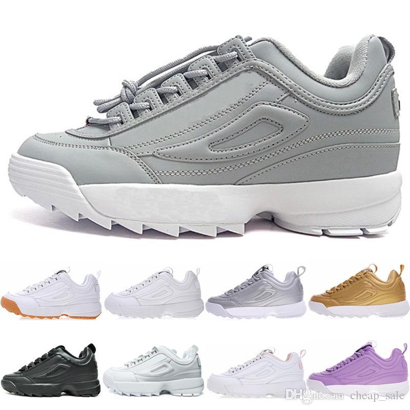lowest price 4ff91 c81f4 Acheter FILA Disruptor 2 II Vente Chaude 2.0 II Noir Blanc Argent Gris  Chaussures D entraînement Pour Hommes Femmes De Luxe Hommes White Gum  Chaussures De ...