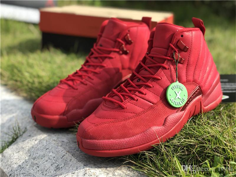 2018 Release Air Sneakers 12 Bulls Retro Man 12s Gym Red Basketball Shoes  Real Carbon Fiber Sneaker Come With Box 130690-601 All Black Basketball  Shoes 2018 ... e21c018b8