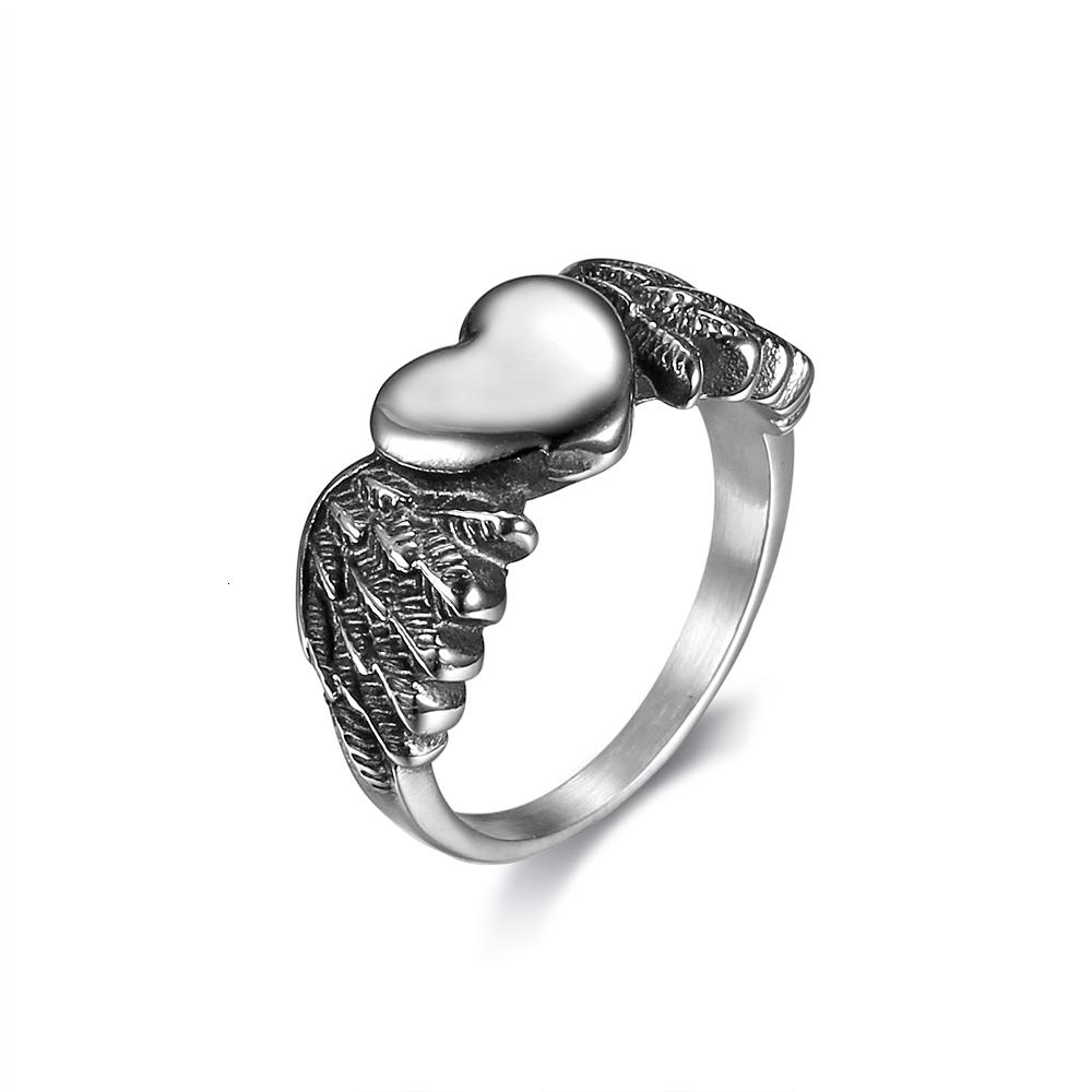 Size 5-11 Fashion Women Live To Ride Heart Wing Women Biker Rings Ladies Wom Mini Heart Angel Wing Rings