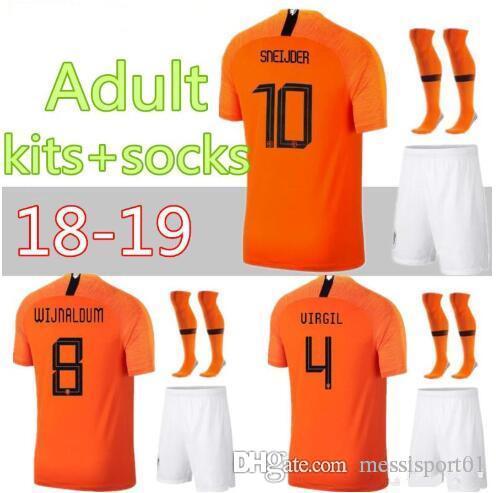 fde47455c4594 Compre 18 19 Holanda Camisa De Futebol Uniformes ROBBEN 2018 2019 V.PERSIE  Holanda SNEIJDER Conjuntos De Futebol BERGWIJN Holanda MEMPHIS Football  Kits De ...