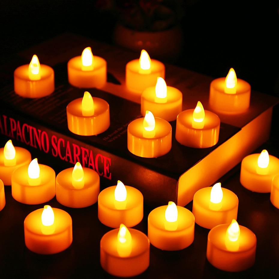 24pcs Batteries Included Tea Light Flickering Flameless Led Candles Bougie Velas Electric Candles Chandelle Weddings Decoration T8190620