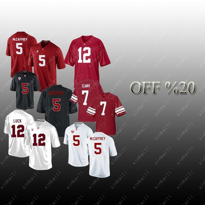timeless design 4ed4f aae86 NCAA jersey Stanford Cardinals 12 Andrew Luck 7 John Elway PAC 5 Christian  McCaffrey American College Football jerseys