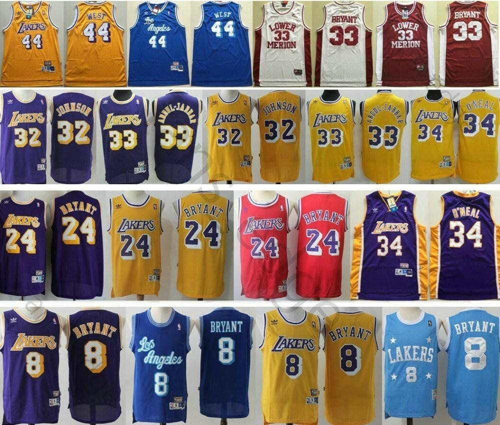 Cheap Men Lakers #32 Johnson 33 Kareem Abdul Jabbar 34 Shaquille O'Neal 44  Jerry West #8 #24 Kobe Bryant Basketball Jersey
