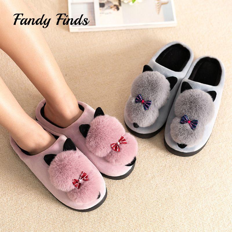 20e945719 Fandy Finds Cat Slippers Women Winter Home Faux Fur Pom Pom Ladies Girl  Students Winter Indoor Non Slip Flat Slippers Womens Slippers Sheepskin  Slippers ...