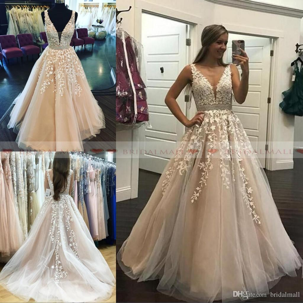 c386340b257 2019 Elegant V Neck Appliques Tulle Long Prom Dresses With Crystals Sash  Formal Party Gowns Low Back Evening Dress Pageant Celebrity Gowns Girls Prom  Dress ...