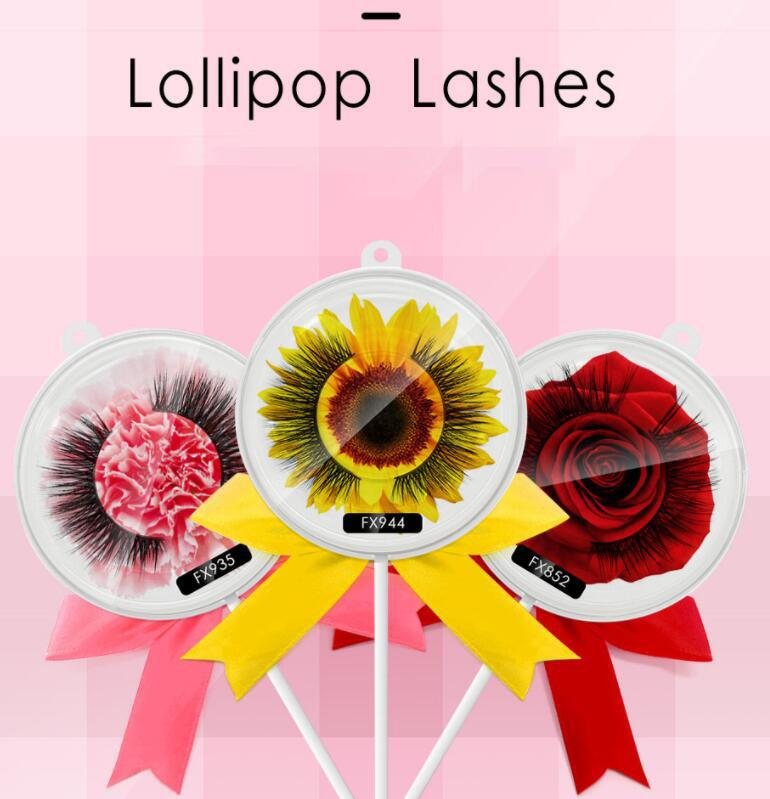 Lollipop False Ciglia fibra cross Falso 3D Lashes Natural Long lasting Extension Strip Extension Ciglia KKA6720