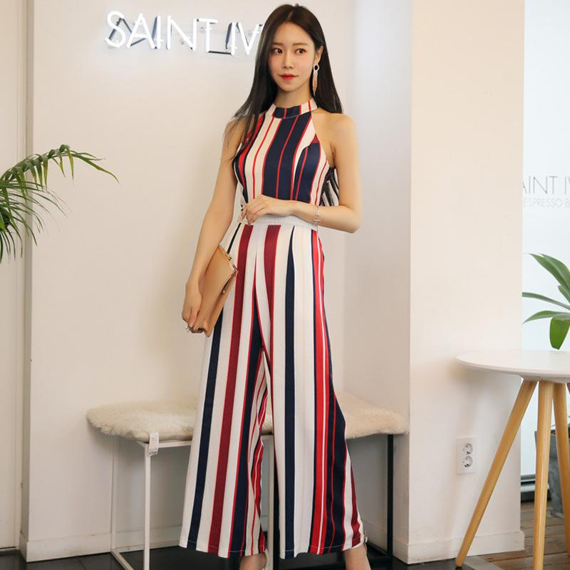 3dd2f790608d 2019 Striped Halter Sleeveless Off Shoulder Tunic Wide Leg Full Length Jumpsuits  Women Elegant Sexy Office Party Fashion Clothing From Fraoe