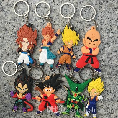 Anime Dragon Ball Monkey Keychain Son Goku Super Saiyan Silicone PVC Keychain action figure pendant Keyring Collection toy YD0140