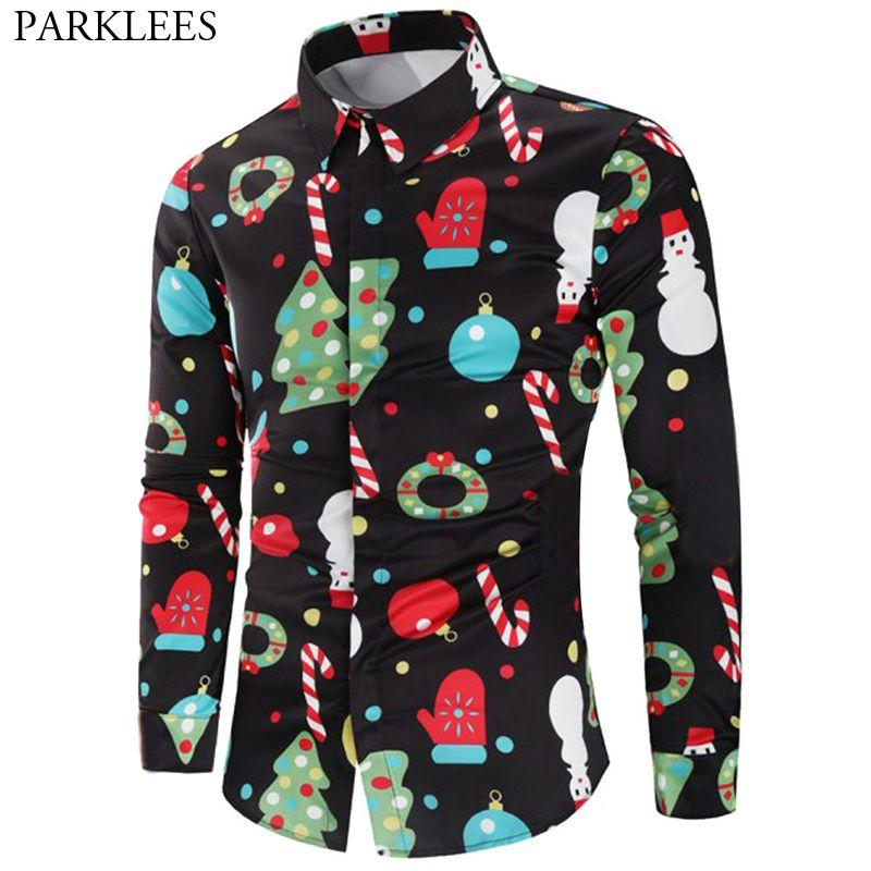 2019 Black Christmas Shirt Men 2018 Fashion Christmas Tree Candy