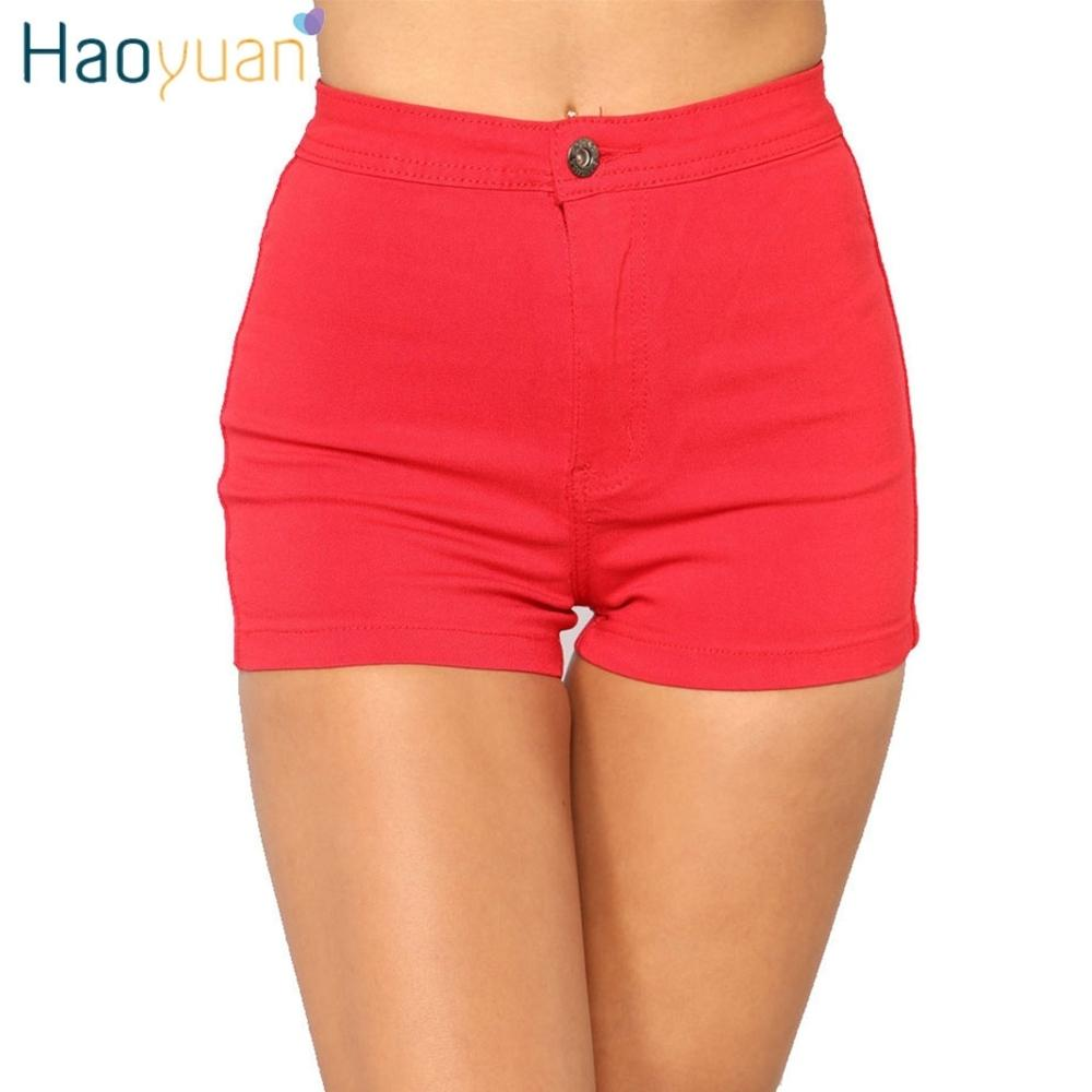 Haoyuan Women Denim Shorts 2018 Summer Elastic High Tail Sexy Shorts Mrs Casual Women Black Spandex Jeans Short Pants Y19071501