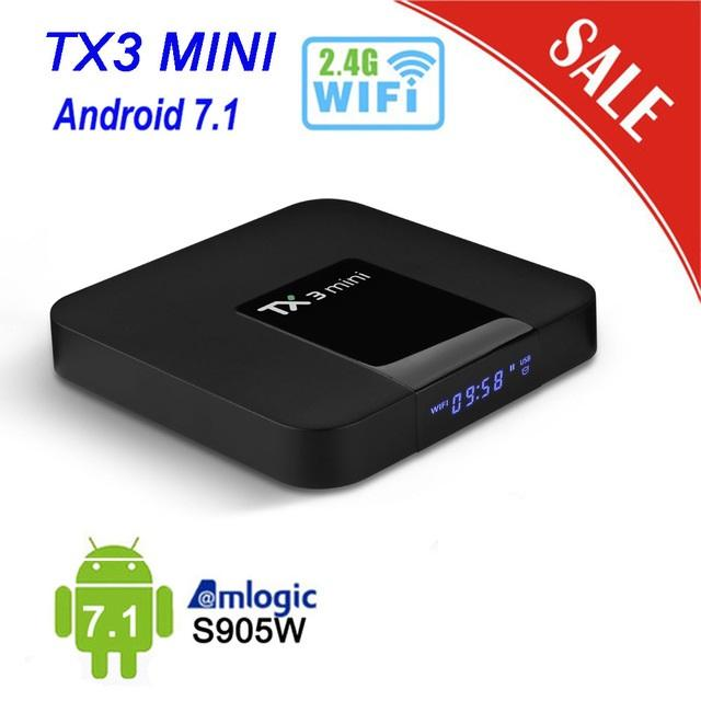 Tanix mini Android 7.1 TV Box Smart TV Boxs 1GB RAM + 8GB ROM Amlogic S905W Set Top Box H.265 4K 2.4G WiFi Media Player TX3mini Box BA