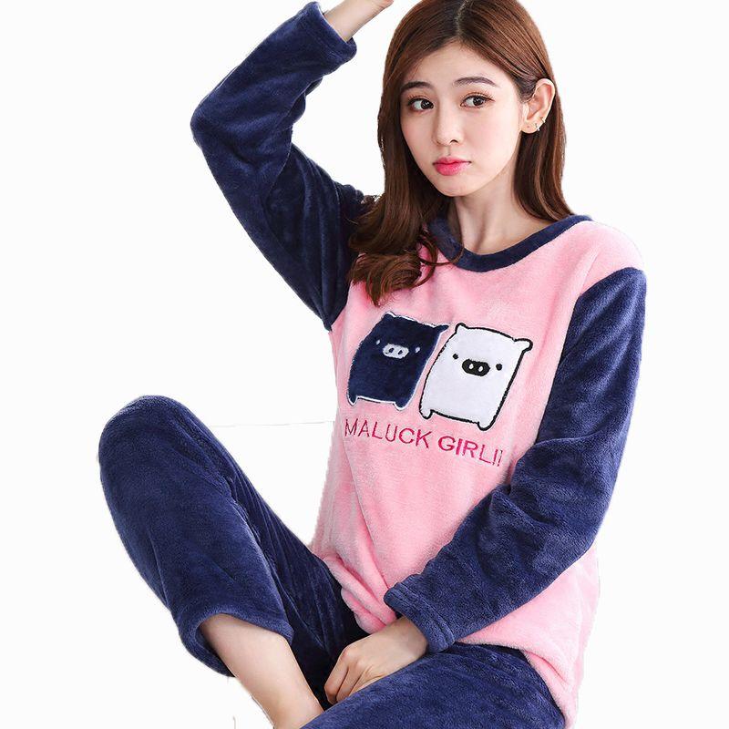 2019 Sleepwear O Neck Women Cute Warm Pajamas Suit Flannel Long Sleeve  Sweet Cartoon Home Wear Negligee Shirt Pant Nightwear From Baiyulanflo 191b24ab6