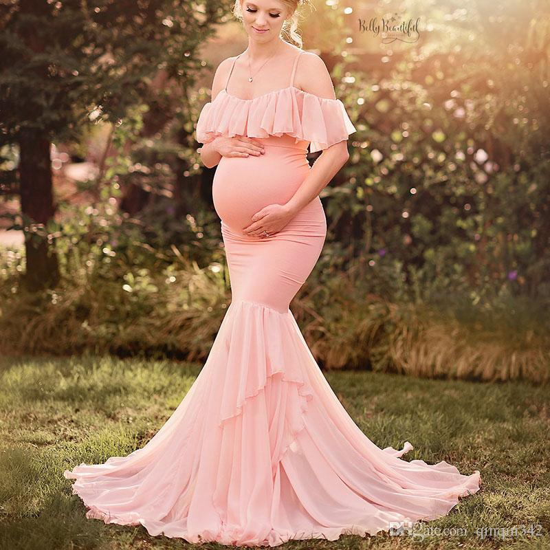 Maternity Dresses For Photo Shoot Maternity Photography Props Pregnancy Off Shoulder Ruffles Maxi Dresses Gown Pregnant Clothes
