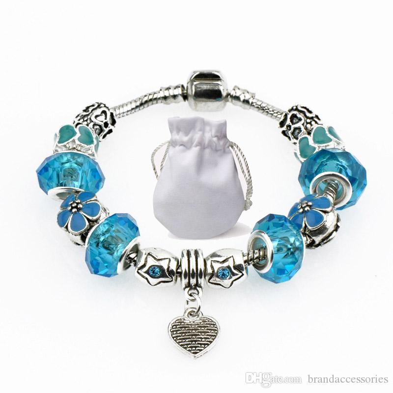 933a005daa80 Perlas de vidrio translúcido Fit Pandora Charm Pulseras Brazaletes Corazón  Colgante Turquesa Con Cuentas de Cristal Marca de Joyería de Aleación de  Plata ...