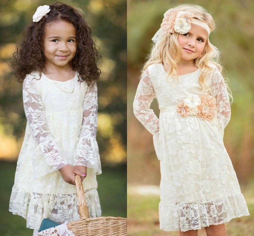 d7eb0c1a55abb Cheap Girls Summer Boho Flower Girl Dresses Long Sleeves Princess Kids  Dresses Lace Flower Girl Dresses for Weddings MC0788