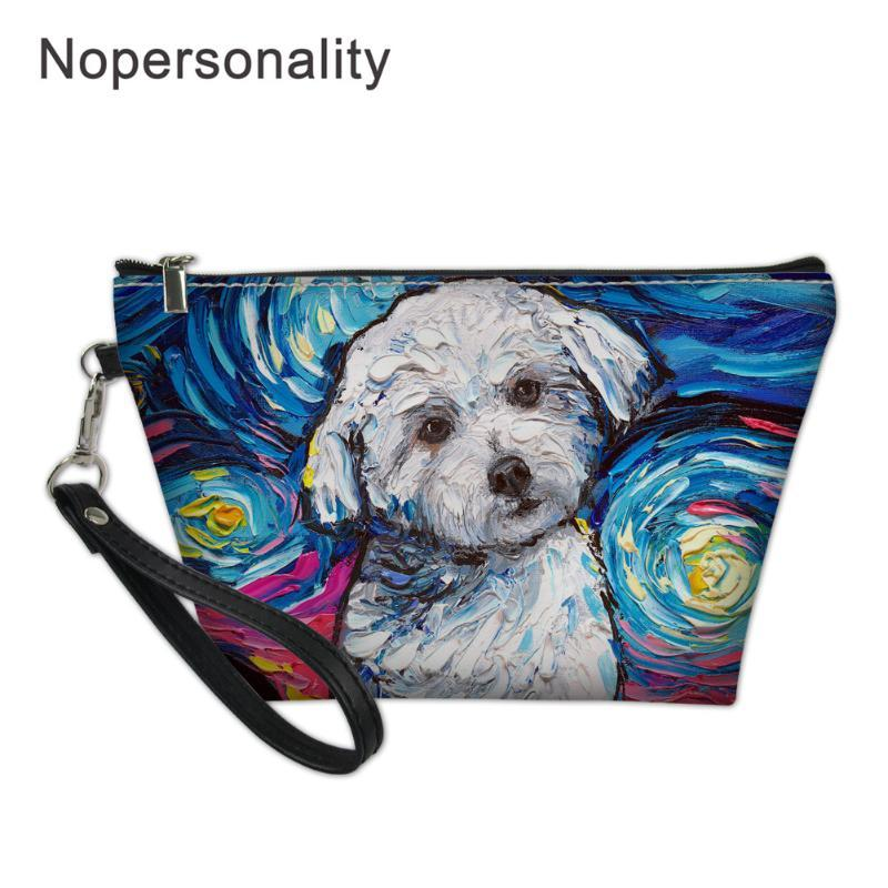 Nopersonality Dog Oil Painting Cosmetic Bag for Women Large Kawaii Make Up Case Travel Beauty Organizer Makeup Storage Box