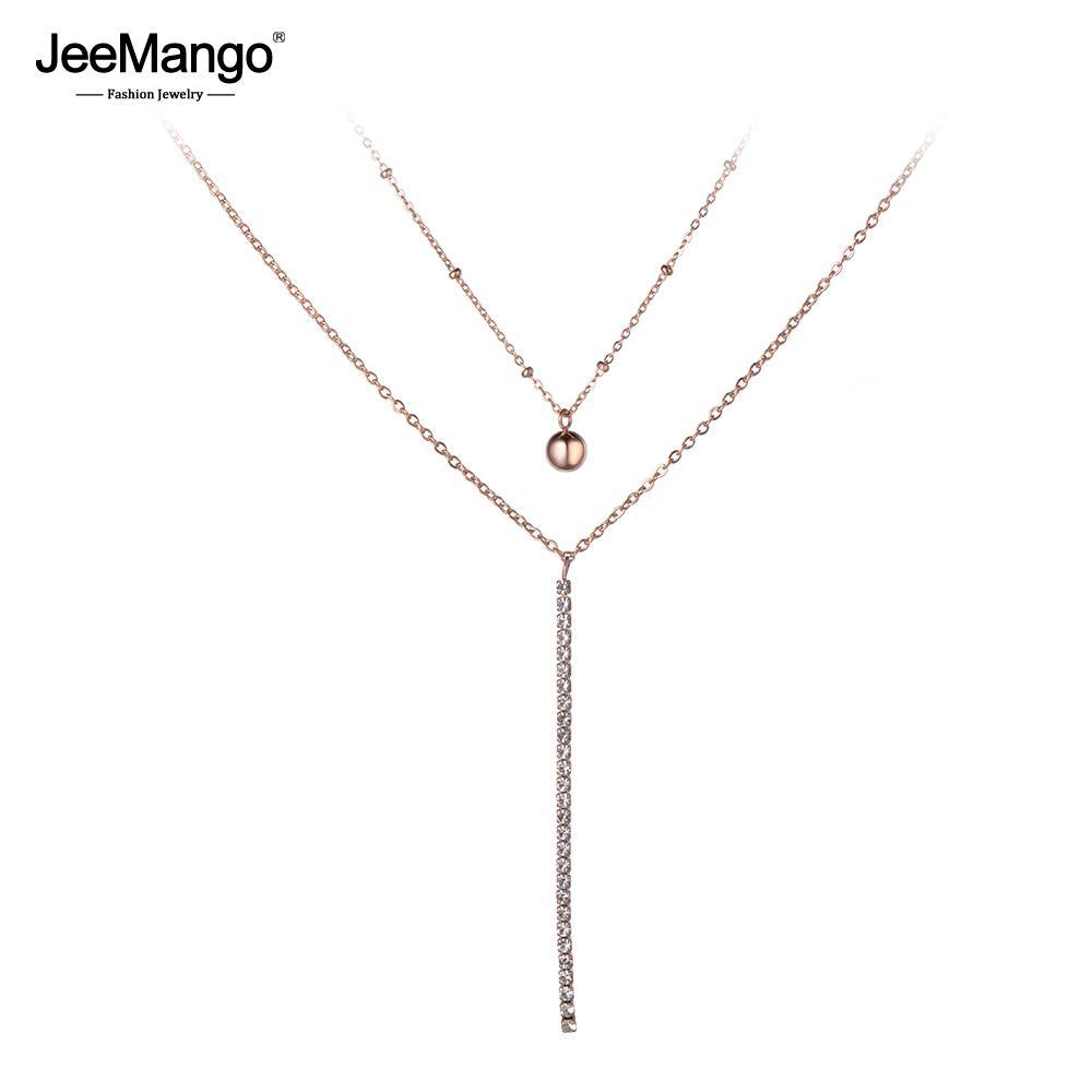 e6da7fe98f6c0 JeeMango Double Layer Chain Jewelry Ball Pendant Mosaic Crystal Rose Gold  Choker Necklace For Women Chirstmas Gift JN19051