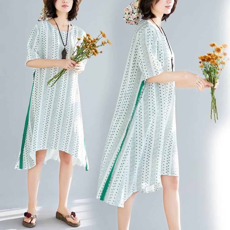 3c1128f15765e 2019 2019 Summer Maternity Cloth Flora Printed Dresses Pregnant Women Large  Size Loose Belt Short Sleeved Dress Lady Bohemian Beach Asymmetrical From  ...