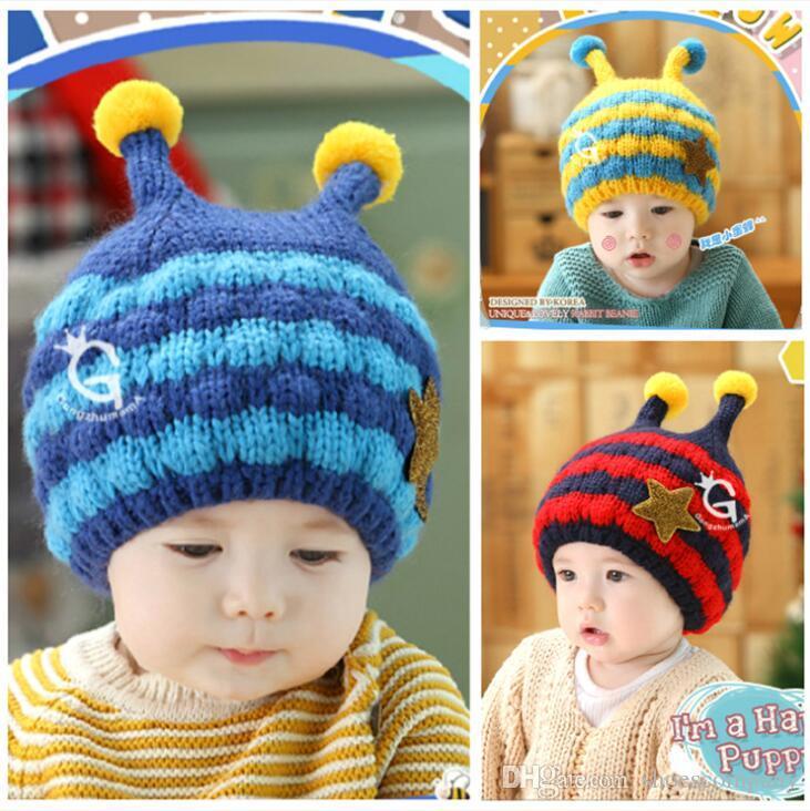 46bba4f286e 2019 New Fashion Beanie Hats for Child And Kids with Velvet Bee Winter Hat  Bonnet Designer Beanies Brand Luxury Skull Cap Boys Girls Stripe Beanie  Winter ...
