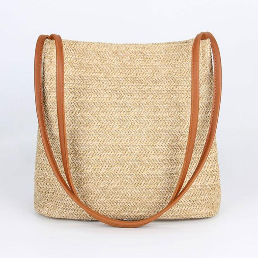 JIARUO Summer leather Top-handle Women Straw Shoulder bag Tote Handbag hand bag Ladies daily outdoor