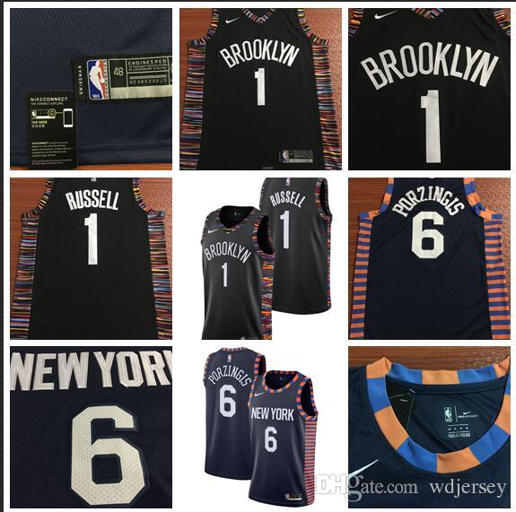 new arrival c44ce db86a City Edition 2019 Men New York Basketball Knicks Jerseys 1 Russell 6  Porzingis City Edition ALL Stitched Jerseys