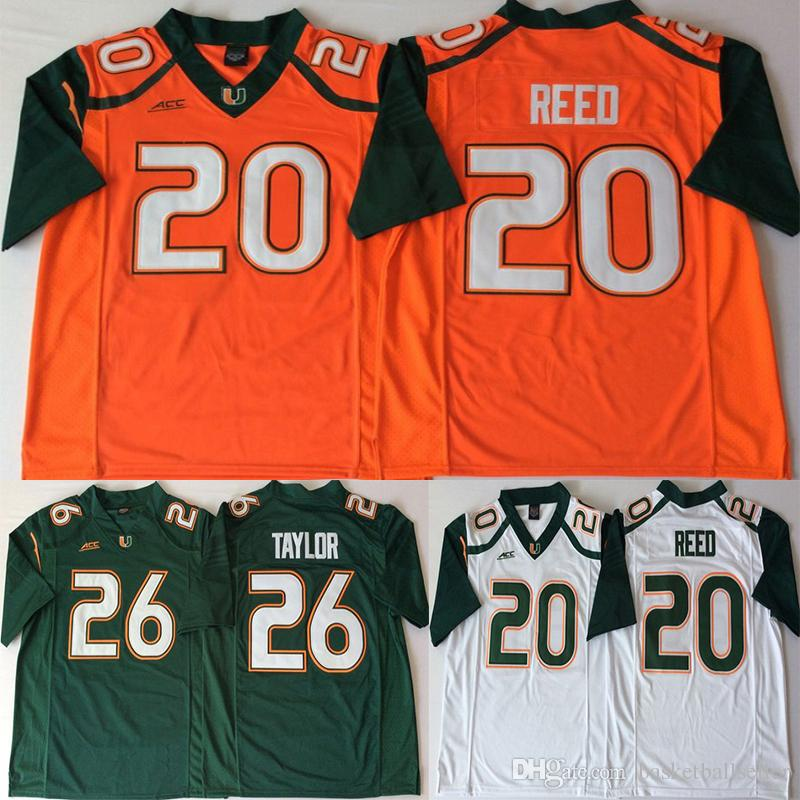 lowest price cbabc bed7e Ncaa 26 Taylor Miami Hurricanes Jerseys 20 Reed ACC Orange Green White Men  College Football Jersey