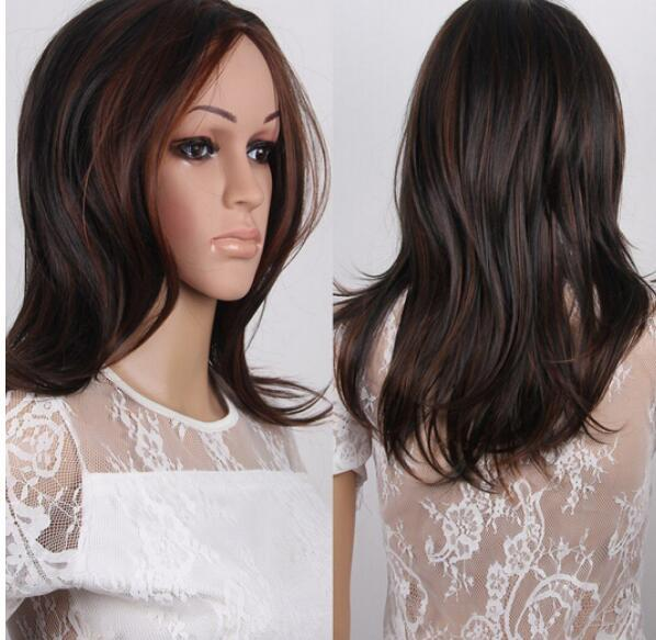 New Sexy Ladies Medium Long Dark Brown Straight Natural Hair Wigs
