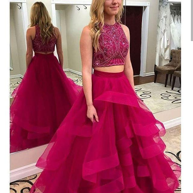 45154cdf2d7 Fuchsia Two Piece Prom Dresses Long 2019 Crystal Bead Ruffles Formal  Evening Gowns Cocktail Party Ball Sweet 16 Dress Quinceanera Gown Prom  Dresses Juniors ...