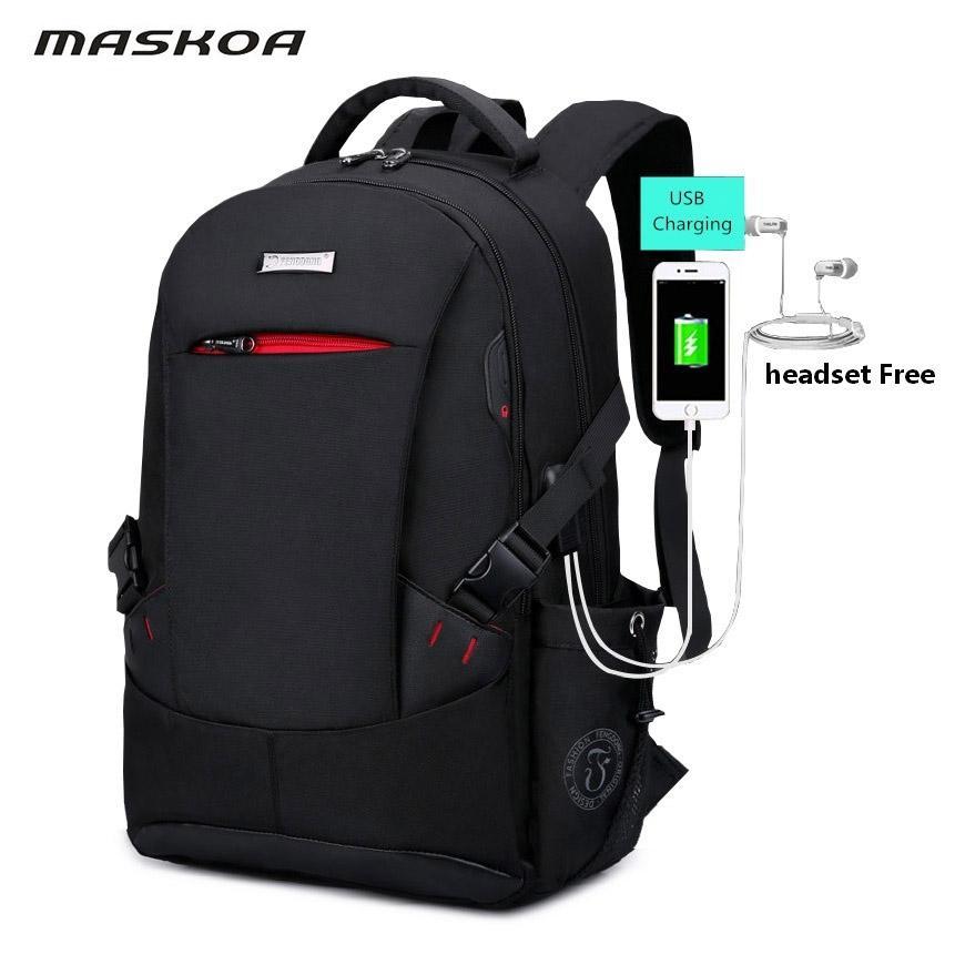 adeee1d2a187 2018 New Backpack USB Headset Interface School Bag Men S Black Anti Theft  Waterproof Laptop Backpack Women Travel Bag Rug Tassen Backpacks For Men  Jansport ...