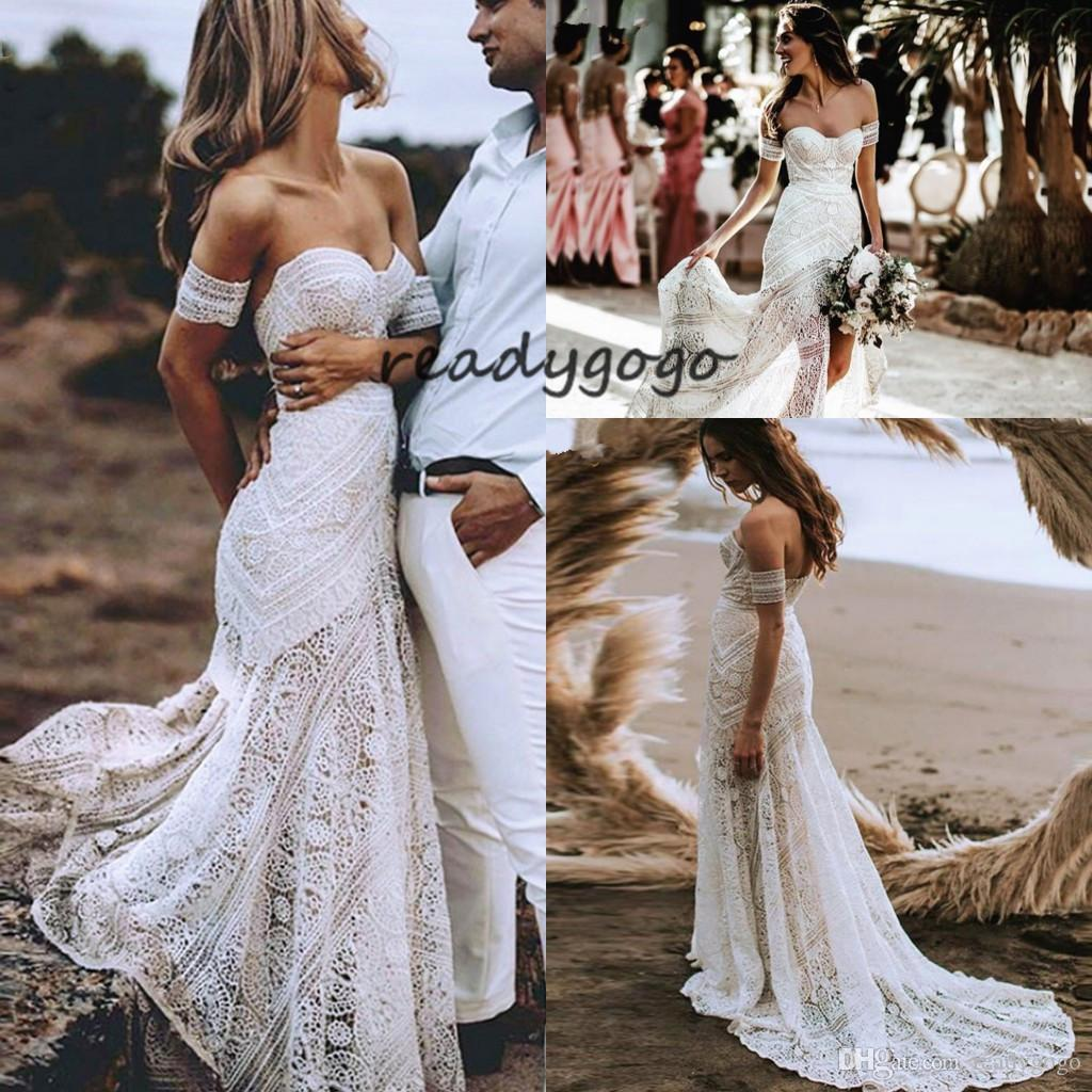 Sexy Boho Beach Soft White Lace Mermaid Wedding Dress 2019 Sweetheart Long Bridal Dress Hawaiian Bride Gown Summer vestido de