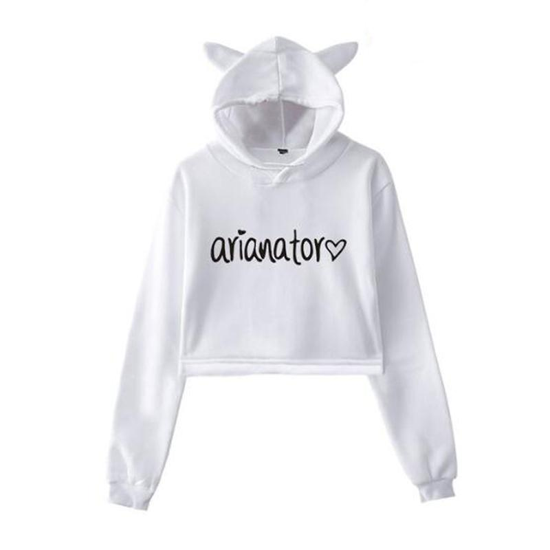 ee10945e0ad604 2019 Ariana Grande Women Hoodie Long Sleeve Pullover Tops Short Jumper  Sweatshirt Girls Casual Hooded Crop Top Hip Hop Clothing From Zhouzhaoyu