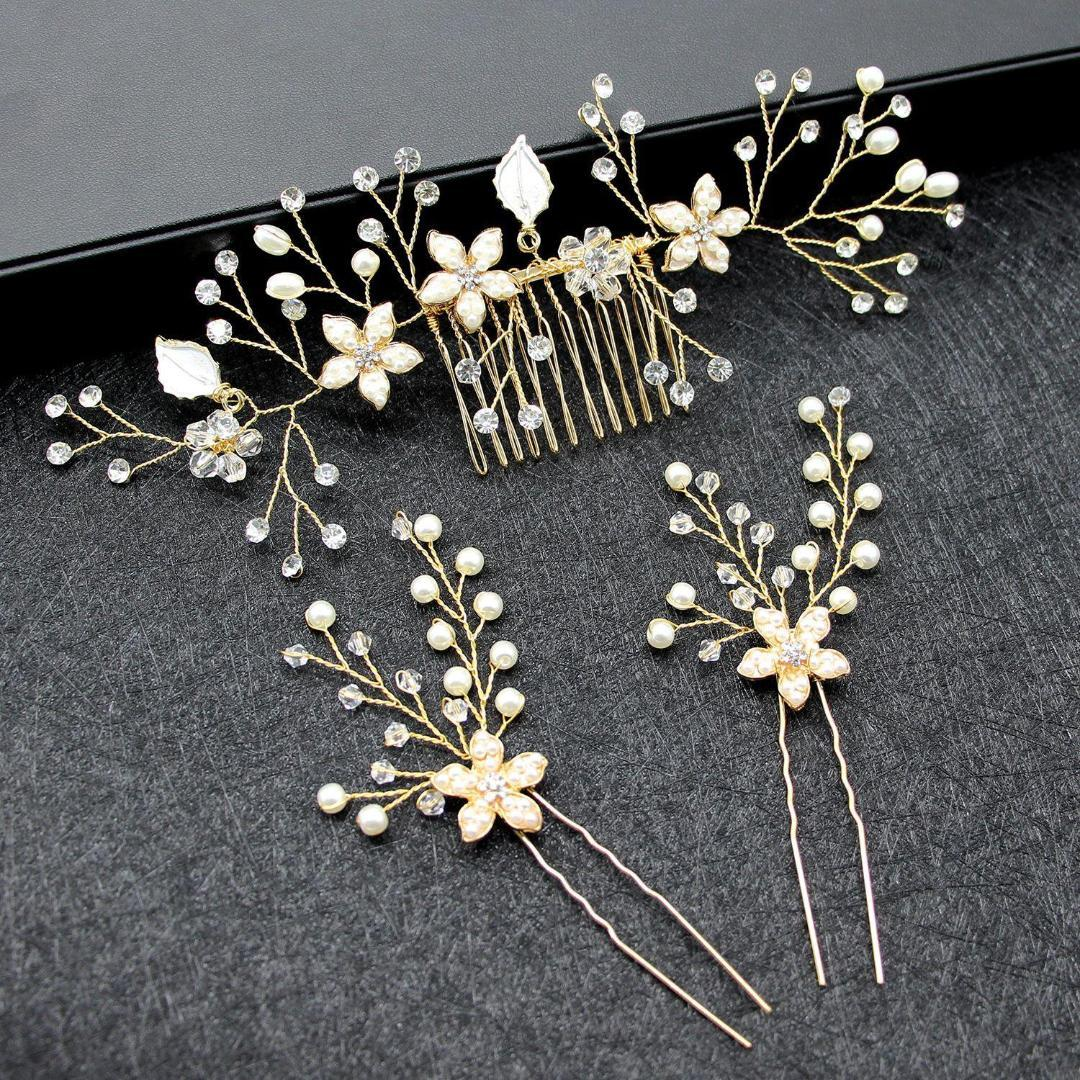 """Silver Metal Hair Comb with Blue Flower Rhinestones 4/"""" inches Long"""
