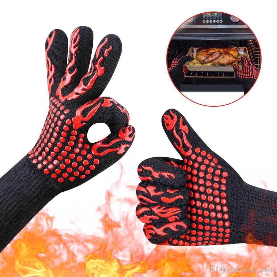 500 Celsius Heat Resistant oven Gloves Insulated Silicone Gloves for Microwave BBQ Grilling Mitts Five Fingers Anti Slip Baking Cooking Tool