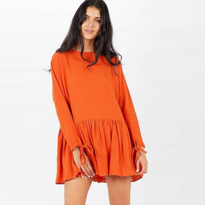 3453b1792d13 Women Mini Dress Solid Long Sleeve Bandage Ruffled Hem Autumn Fashion Dress  Casual Elegant Ladies Loose Dress Khaki White Orange Formal Dress Backless  ...