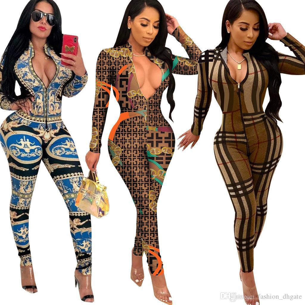 a9e4faf78560 2019 New Arrival Print Long Sleeve Jumpsuit Sexy V Neck Women Rompers 2019  Autumn Long Sleeve Night Club Overalls Outfits Coffee Brown From  Fashion dhgate