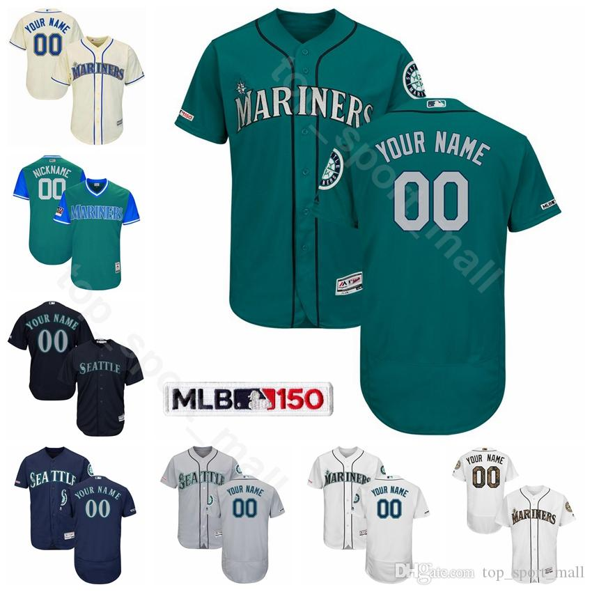 los angeles 309e4 b668d Seattle Baseball Mariners 24 Ken Griffey Jr. Jersey 11 Edgar Martinez 51  Suzuki Ichiro 51 Randy Johnson 34 Felix Hernandez Custom Name