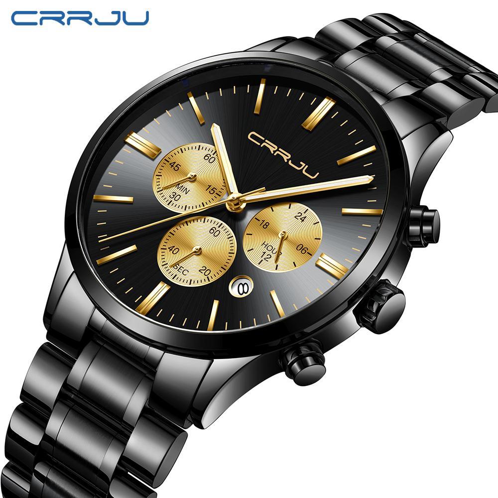 80dd8166e0a9 Compre CRRJU Reloj De Cuarzo Para Hombre Banda De Malla De Acero Inoxidable Reloj  De Oro Negro Cronógrafo Relojes Hombres Mejor Marca De Lujo Relogio ...