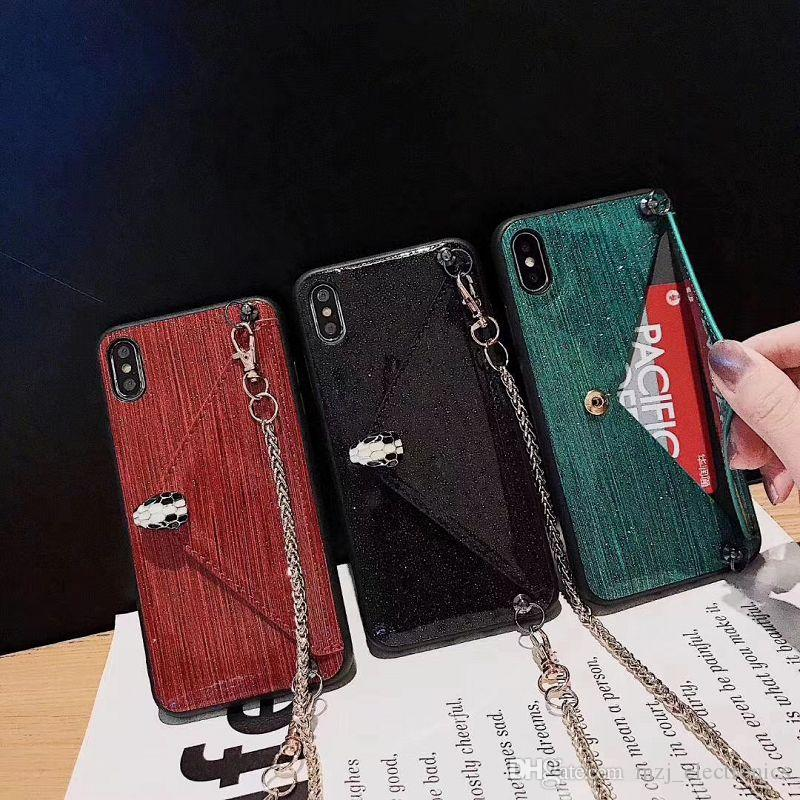 Designer phone case for Iphone XS MAX XR XS X 6 7 8Plus Fashion Phone Case with Creative card slot kickstand and strap