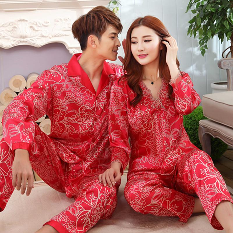 0a589b58af 2019 2019 Spring Autumn Couples Silk Satin Pajama Sets For Women Long  Sleeve Chinese Red Wedding Sleepwear Suit Homewear Pijama Mujer From  Mudanflower, ...