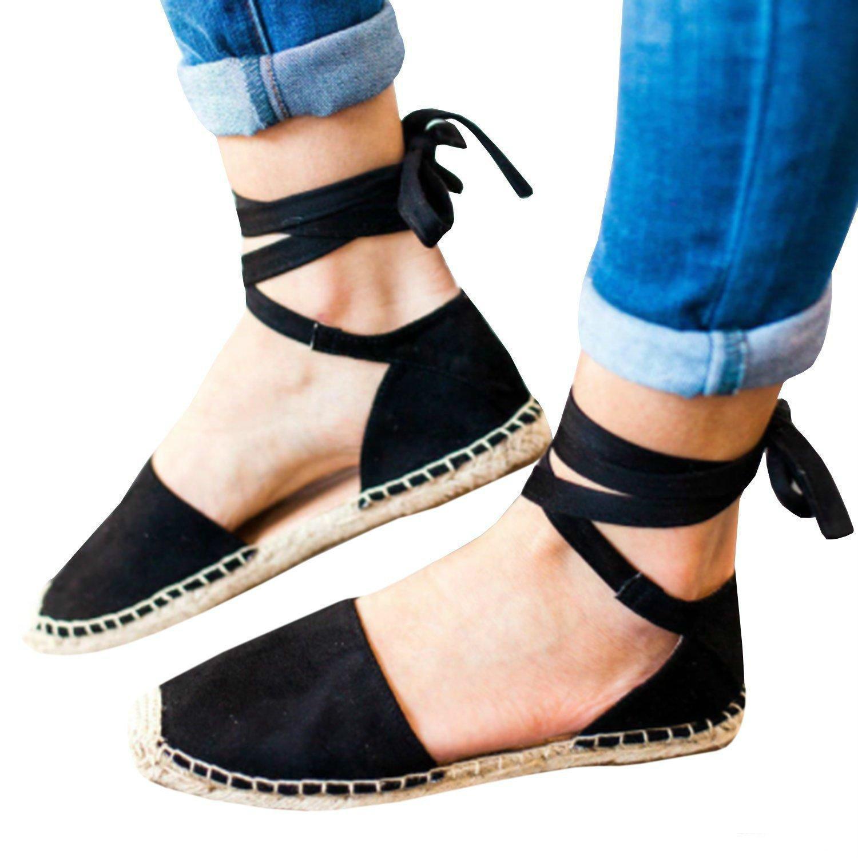9349fa4f Compre 2019 Las Mejores Mujeres Sandalias Romanas Pisos Zapatos Plataforma  Con Cordones Correa Del Tobillo Zapatos De Pescador Mujer Paja De Los Pies  ...