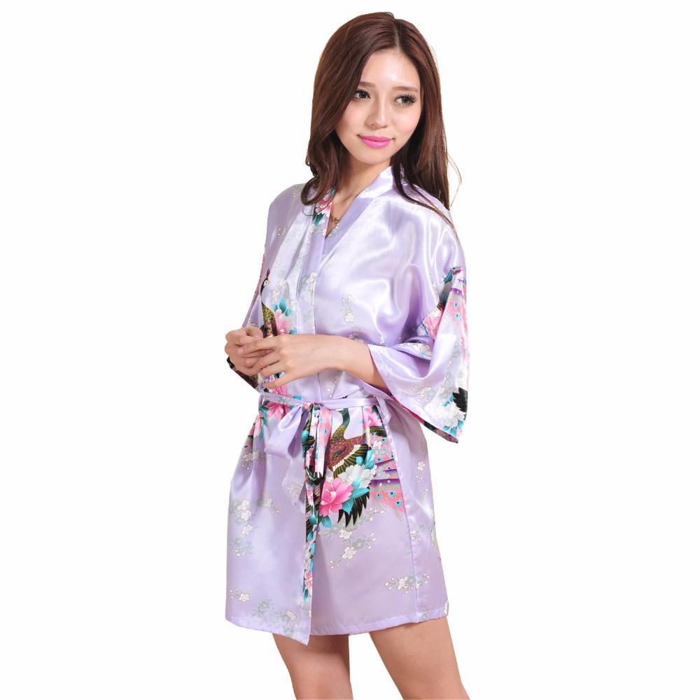 476c982799 2019 Light Purple Lady Silk Rayon Mini Robe Sexy Kimono Bath Dress Gown  Summer Casual Sleepwear Pajama S M L XL XXL XXXL NR105 From Nihaode