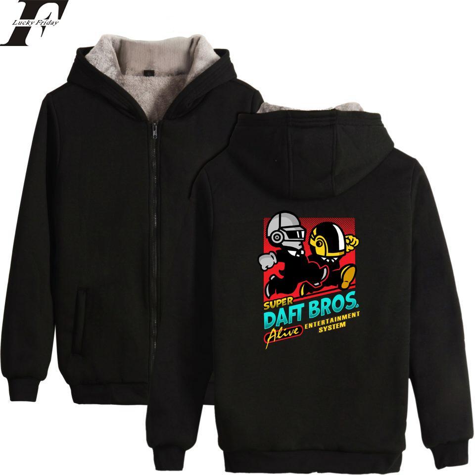 5ecd9befed LUCKYFRIDAYF Daft Punk Hoodies Hombre / Mujer Zipper Hoodies Sudadera Mujer  / Hombre Banda de música eléctrica Cotton Fluff Thicken Ropa