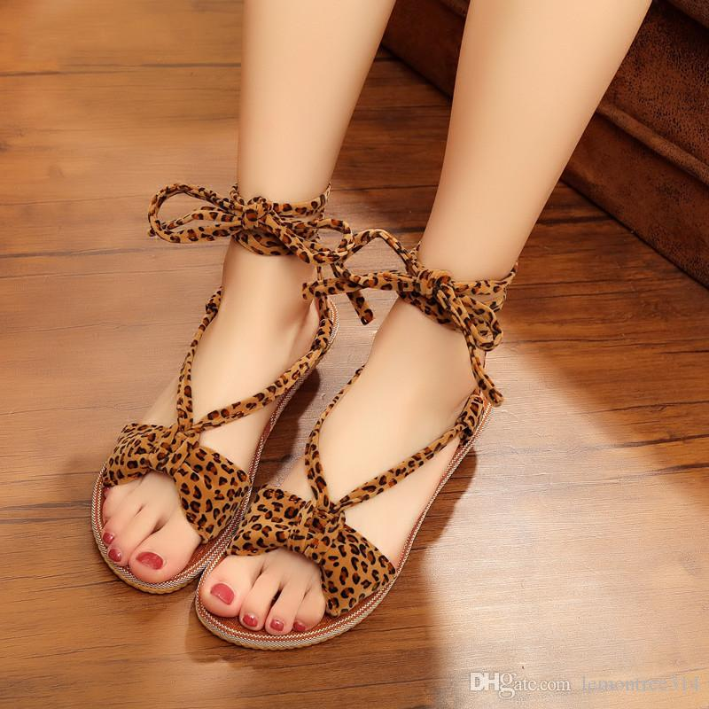 42b564c2f2 Womens Sexy Leopard Low Heel Sandals Ankle Strap Fashion Sandal Open Toe  Lace Up Casual Shoes Suede Female Girls Sandals Strappy Sandals Skechers  Sandals ...