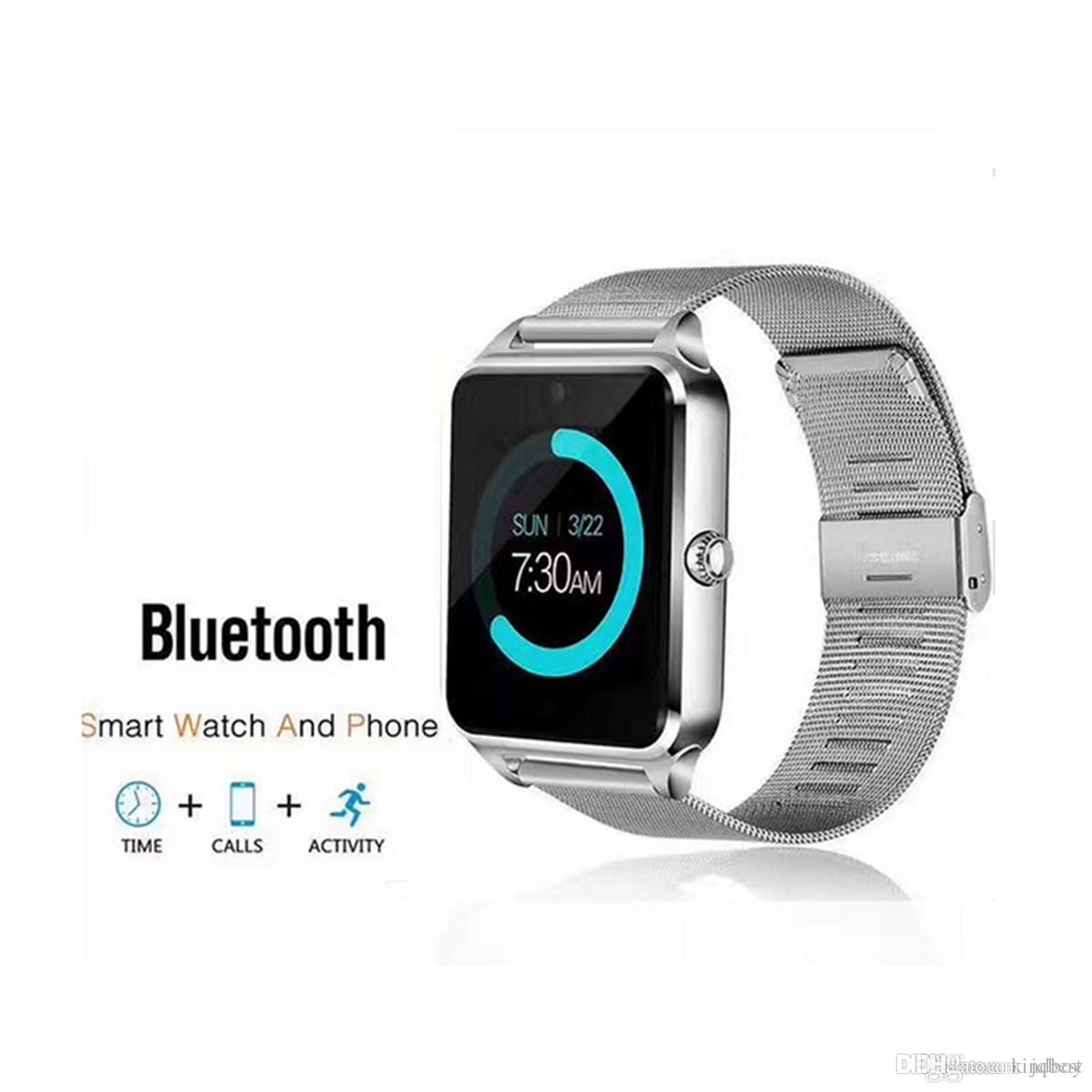 Bluetooth Smart Watch Z60 Orologi intelligenti wireless Acciaio inossidabile per supporto Android IOS SIM TF Card Tracker Fitness Tracker Spedizione DHL