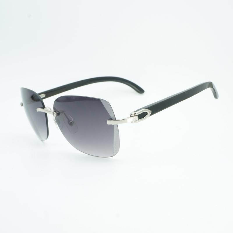 d5eddb4680a Vintage Black Mix White Buffalo Horn Oversize Sunglasses Men Diamond  Cutting Lens Wooden Shades Rimless Glasse For Outdoor Gafas Mens Sunglasses  Police ...